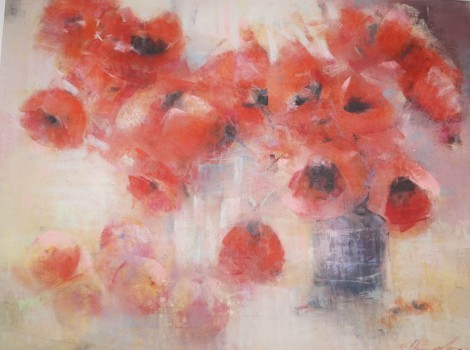 Still Life With Poppies And Apricots, an art piece by Sargis Abrahamyan