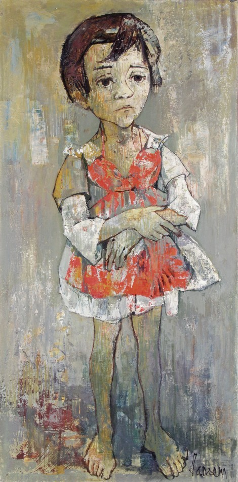 Girl in red dress, an art piece by Jean Jansem (1920 – 2013)