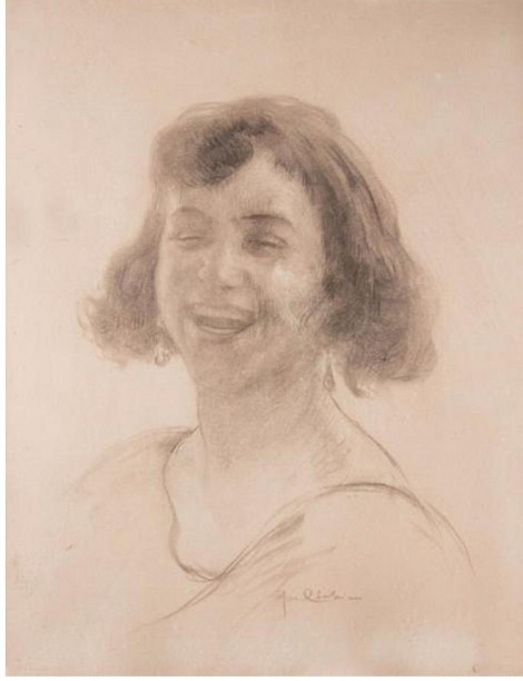 Young woman smiling, an art piece by Edgar Chahine (1874-1947)