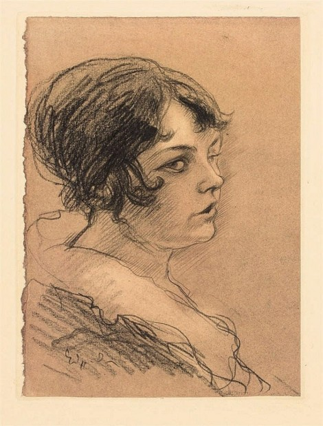 PORTRAIT OF YOUNG WOMAN IN PROFILE, an art piece by Edgar Chahine (1874-1947)