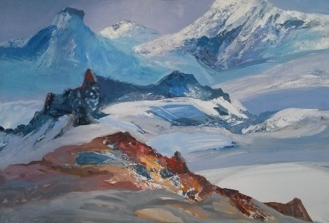 Winter in the Mountains, an art piece by Melkum Hovhannisyan