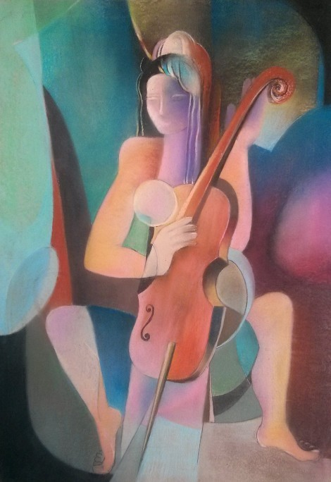The Girl With Cello, an art piece by Melkum Hovhannisyan