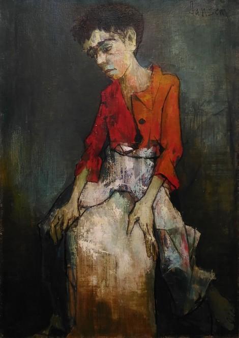 Boy In red shirt, an art piece by Jean Jansem (1920 – 2013)