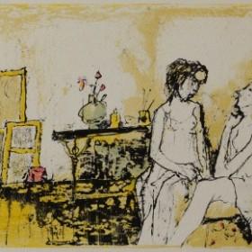 Atelier au rideau fleuri, an art piece by Jean Jansem (1920 – 2013)