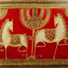 White Horses on Red, an art piece by Gohar Edigaryan
