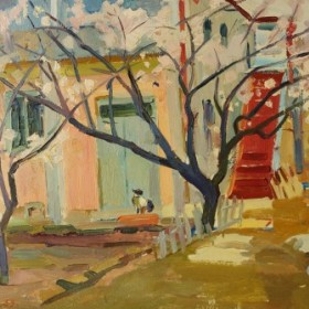 Blooming Trees in The Yard, an art piece by Minas Avetisyan (1928 -1975)