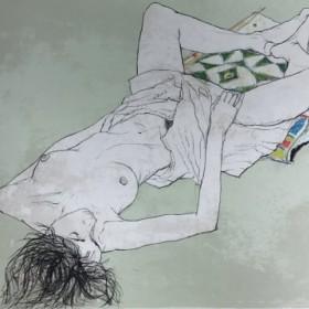 Lydia au coussin Indien, an art piece by Jean Jansem (1920 – 2013)