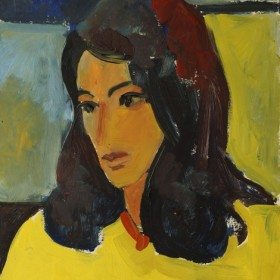 Portrait of a Girl in Yellow, an art piece by Minas Avetisyan (1928 -1975)